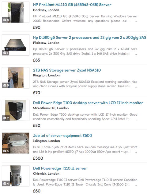 Results of a Gumtree search for used local servers