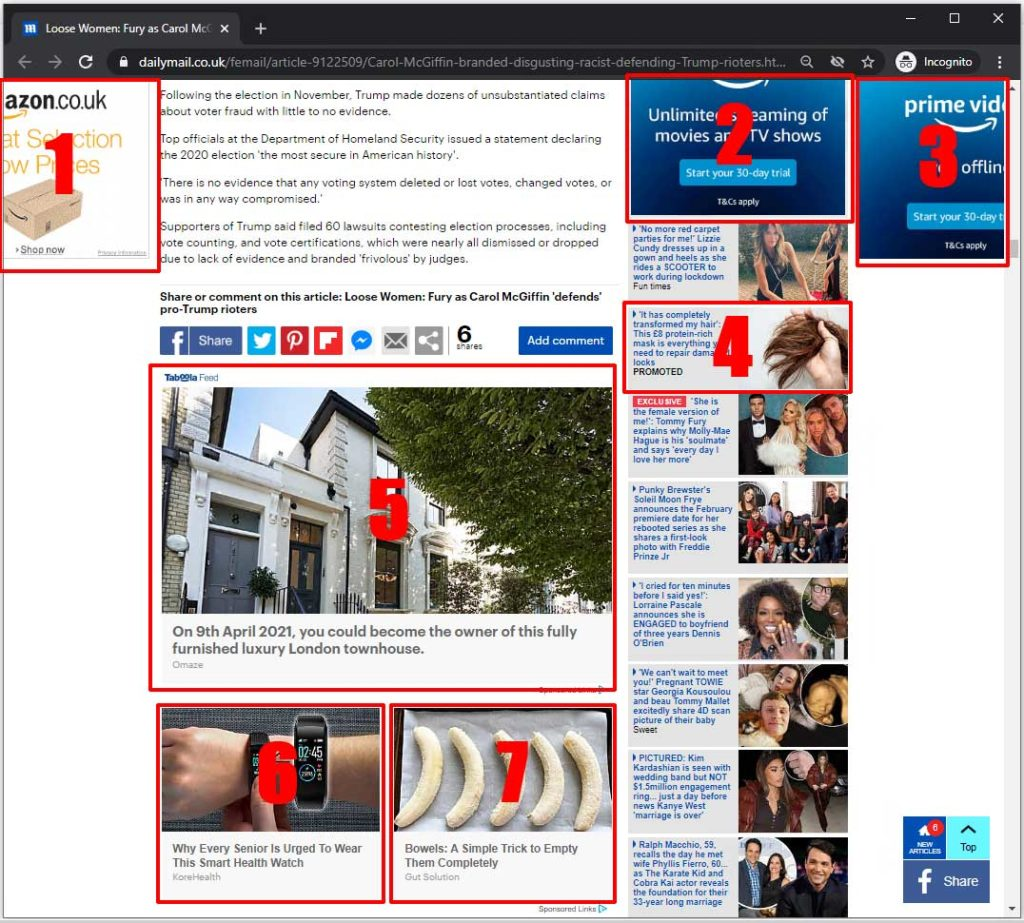 DailyMail website without Pi-Hole - too many adverts