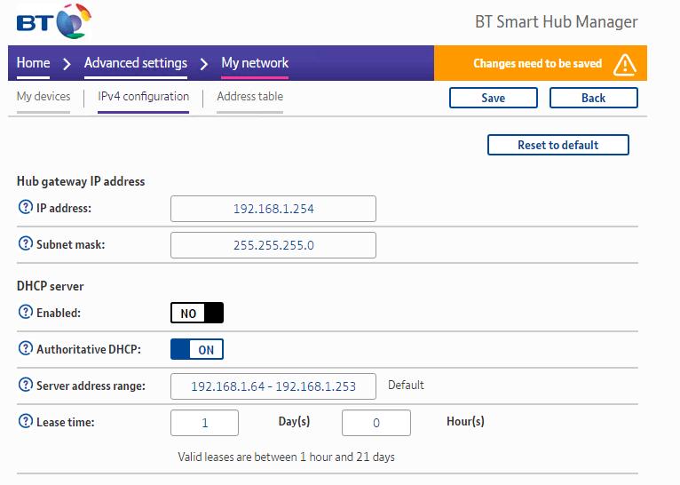 BT Home Hub DHCP server
