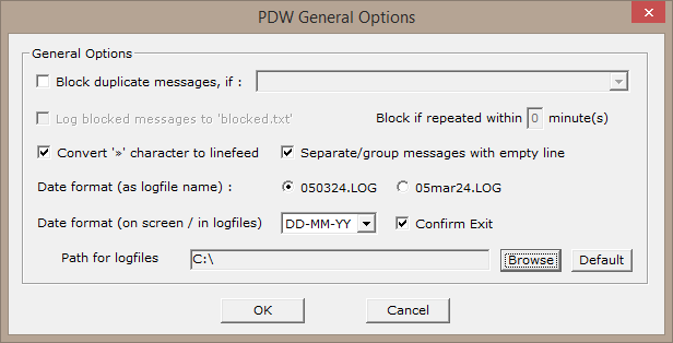 Log file options within the PDW software