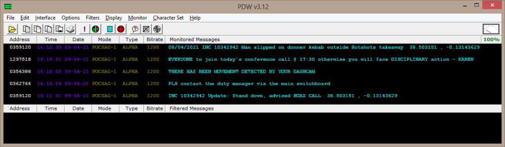 Decoded pager messages being displayed in PDW