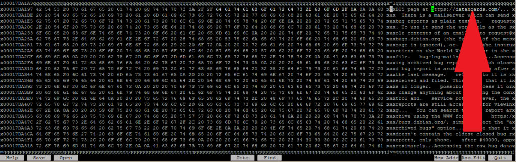 Hex editor view after making a small change to the large file