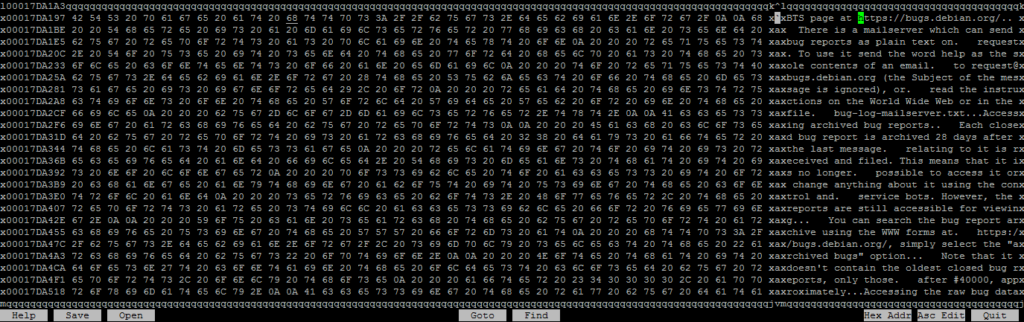 Hex editor view before altering large file