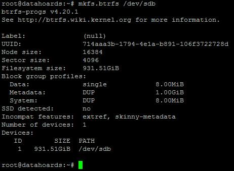 Formatting disk as BTRFS
