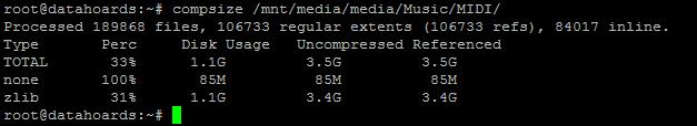 Checking compression ratio of MIDI file directory
