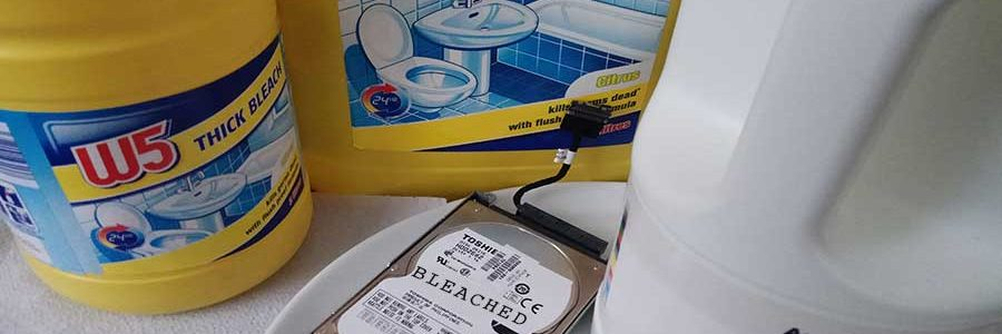 Trying to destroy a hard drive using bleach